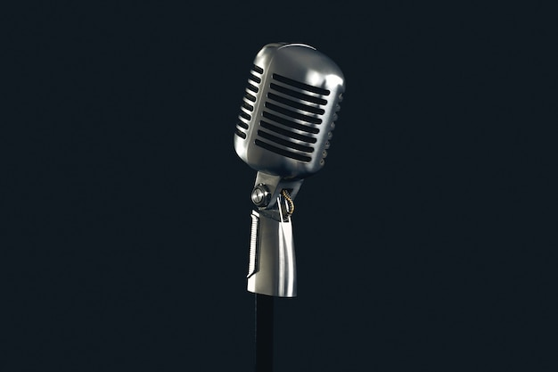 Retro style vintage microphone isolated on black  wall