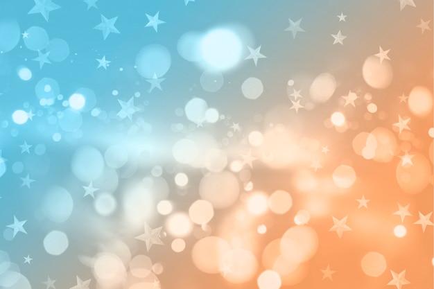 Рождество в стиле ретро с огнями боке и звездами