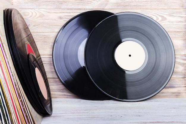 Retro styled image of a collection of old vinyl record