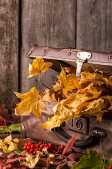 Retro suitcase with autumn leaves on wooden background