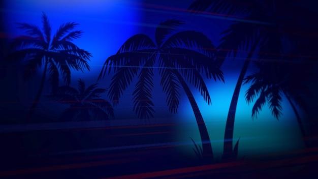 Ретро летний абстрактный фон, пальмы в ночи. элегантная и роскошная 3d-иллюстрация в стиле 80-х, 90-х годов