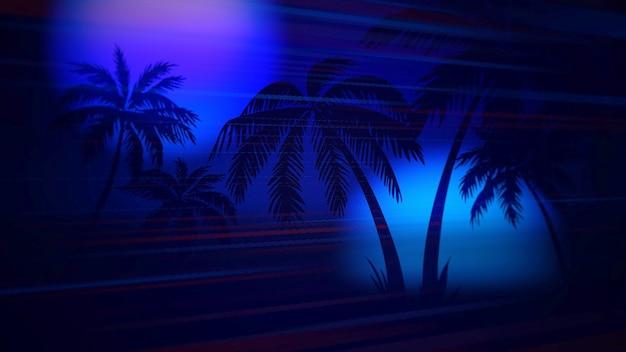 Ретро-летний абстрактный фон, пальмы в ночи. элегантная и роскошная 3d-иллюстрация в стиле 80-х, 90-х годов