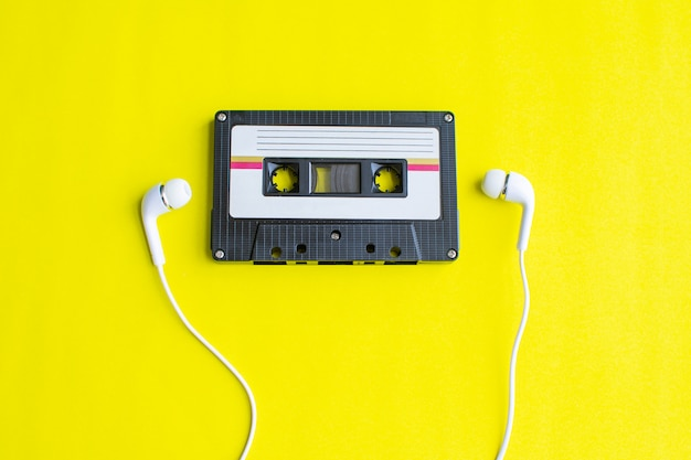 Retro of tape cassette on yellow