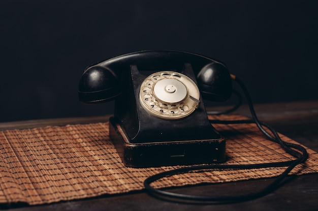 Retro telephone office communication technology close-up studio