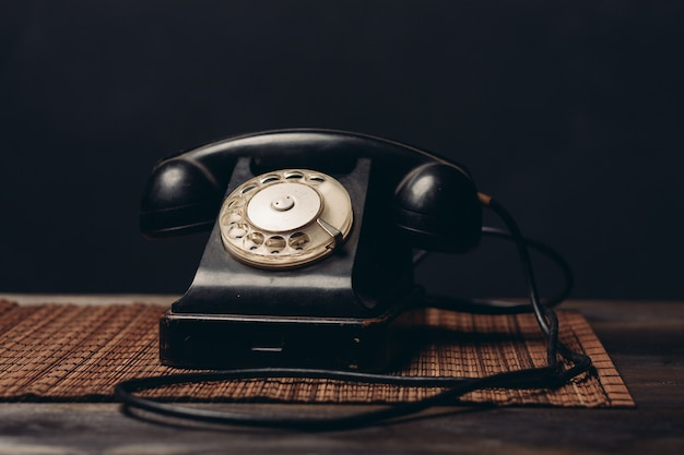 Retro telephone office communication technology closeup