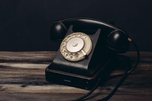 Retro telephone old technology communication vintage office.