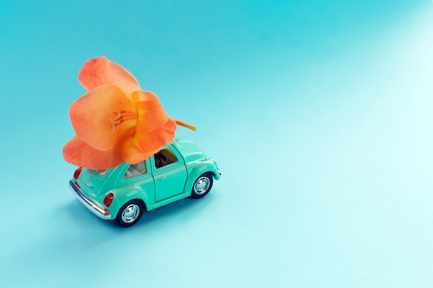 Retro toy car with flower on the roof