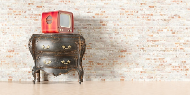 Retro tv in the old interior with old brick wall in 3d illustration