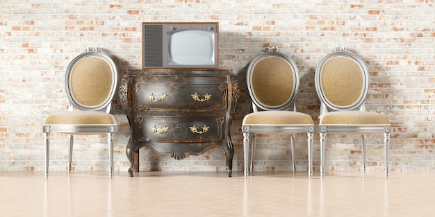 Retro tv in the old interior with old brick wallin 3d illustration
