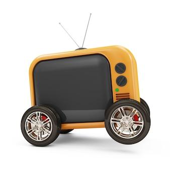 ホイール上のレトロなテレビ
