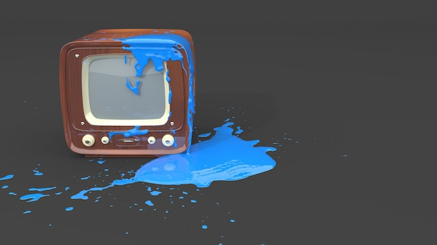 Retro tv stained with blue paint in the form of blots, 3d illustration
