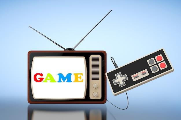 Ретро-телевизор с абстрактным игровым контроллером на синем фоне