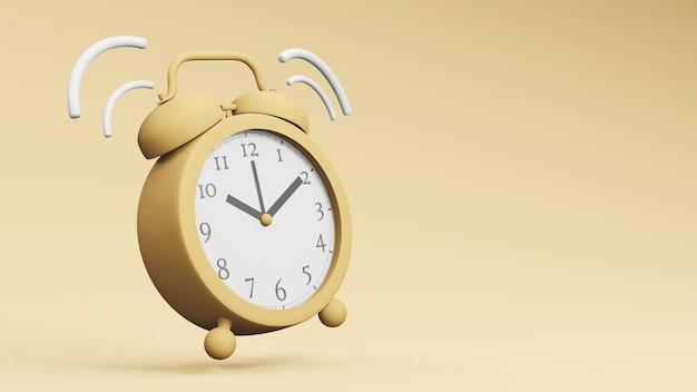 Ретро винтаж будильник время концепции 3d-рендеринга
