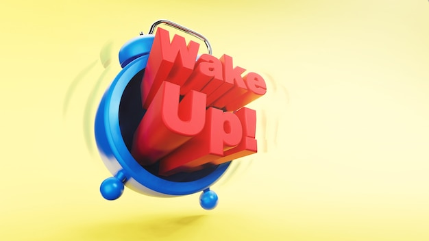 Retro vintage alarm clock with wake up wording time concept 3d rendering