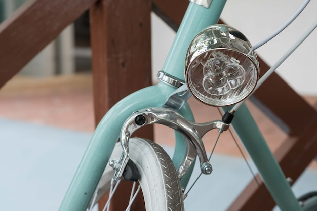 Retro vintage bicycle headlight closeup