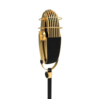 Retro vintage mic isolated on white background gold metallic speech device for stand up