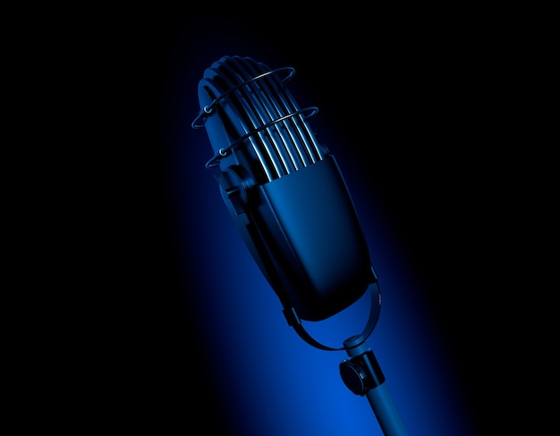 Retro vintage microphone in dark blue scene mic 3d render illustration