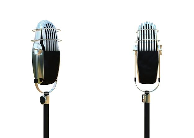 レトロなビンテージマイク金属音声デバイス金属テクスチャレコーダーの視覚化