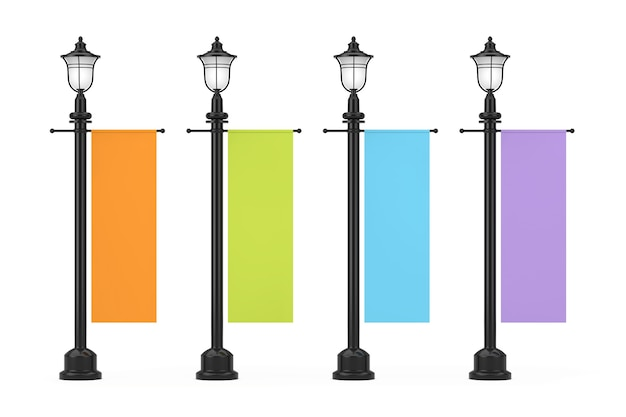흰색 바탕에 여러 가지 빛깔의 광고 프로 모션 이랑 플래그와 함께 레트로 빈티지 가로등 게시물. 3d 렌더링