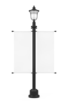 흰색 배경에 흰색 광고 프로 모션 이랑 플래그와 함께 레트로 빈티지 가로등 게시물. 3d 렌더링