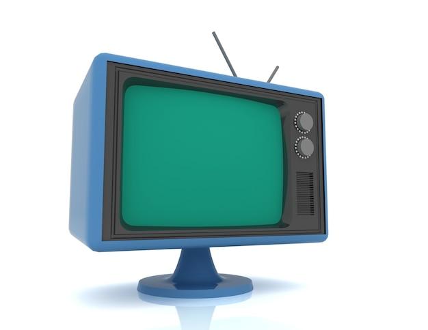 Ретро винтаж телевизор на белом фоне.