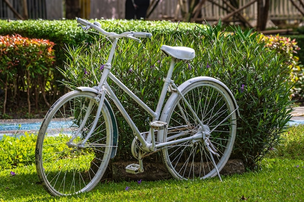 Retro vintage white bike.