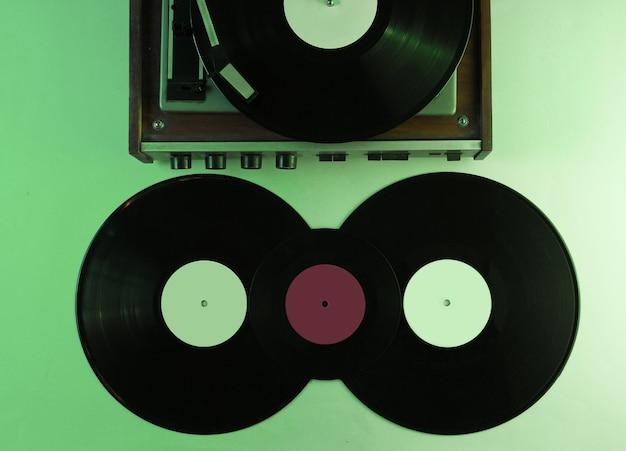 Retro vinyl record player. vinyl records