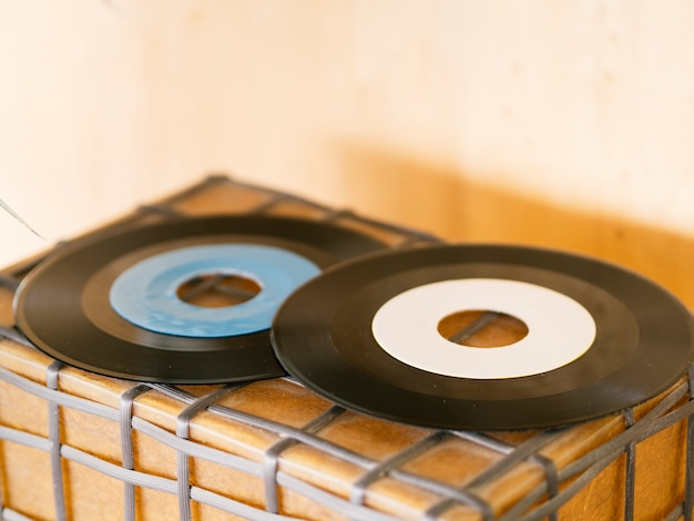 Retro vinyl records stack up