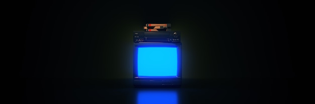 Vhs 카세트 오래된 tv 네온 불빛이 있는 레트로 웨이브 80년대 개념 비디오 플레이어
