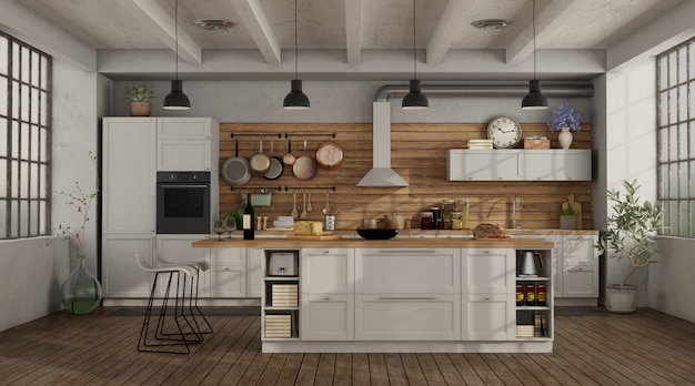 Retro white kitchen in a loft with island and stool