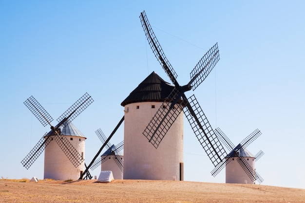 Retro windmills in  la mancha region