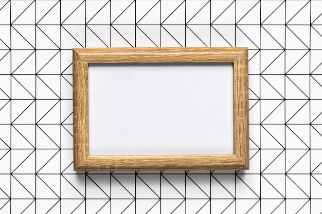 Retro wooden frame with pattern background