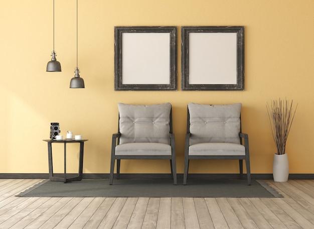 Ретро желтая гостиная с двумя деревянными креслами. журнальный столик и пустая рамка для фотографий - 3d-рендеринг