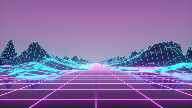 Ретроволочный горизонтальный пейзаж с неоновыми огнями и низкополигональным ландшафтом. 3d-рендеринг.