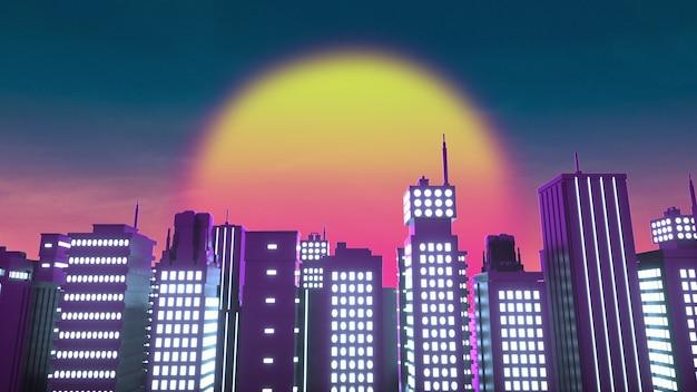 Предпосылка стиля ретроволны неонового города. 3d-рендеринг.