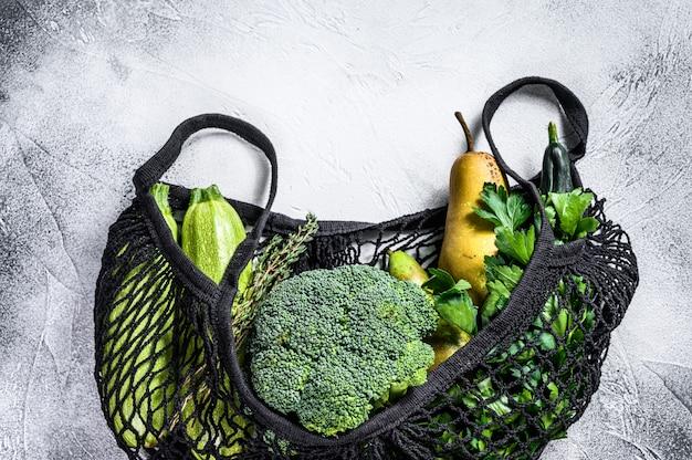野菜入り商品の再利用可能なバッグ。環境にやさしい、プラスチックを含まない。 。