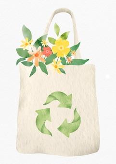花のデザイン要素と再利用可能なバッグ