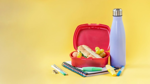Reusable bottle and plastic sandwich box on yellow background sustainability concept