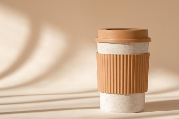 Reusable cup, biodegradable travel plastic coffee mug for take away.