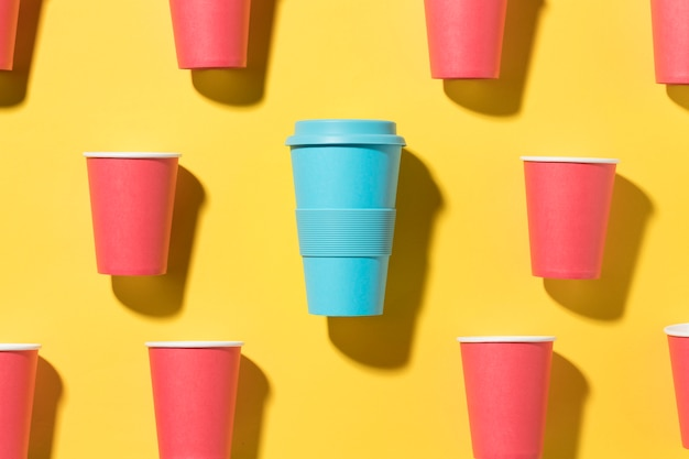 Reusable cup with plastic cups