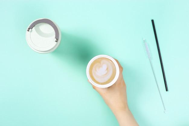 테이크 아웃 커피를위한 재사용 가능한 친환경 대나무 컵