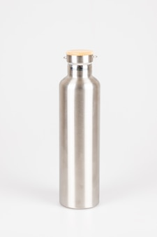 Reusable eco-friendly stainless steel thermo bottles on white