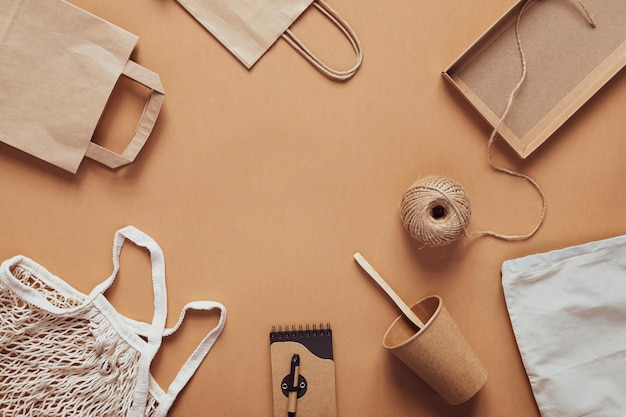 Reusable household items made from recycled materials. eco friendly zero waste flatlay.