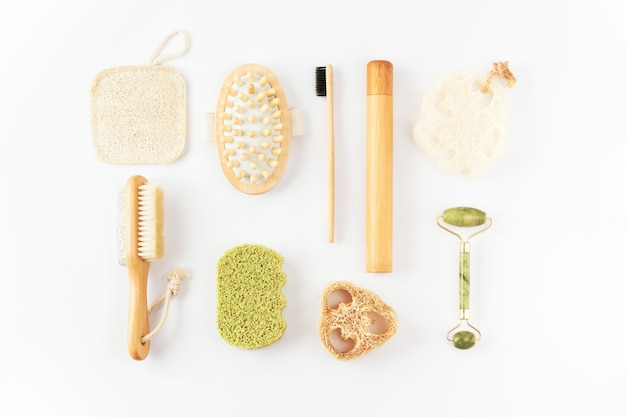 Reusable items for beauty treatment from organic biodegradable material, quartz face roller, anti cellulite massager, bamboo toothbrush