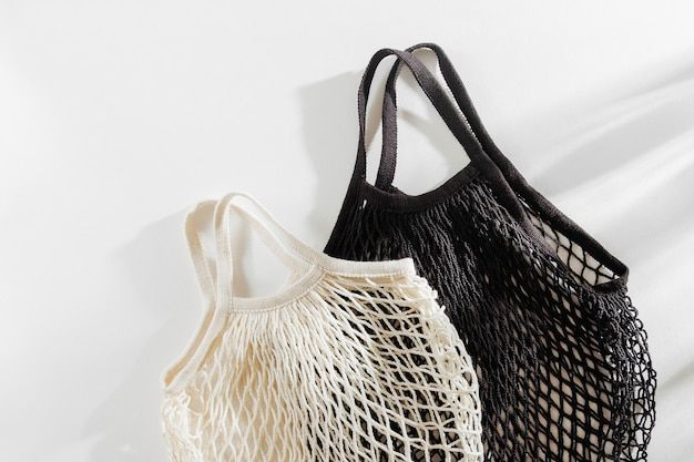Reusable mesh bags on white background. sustainable lifestyle concept.