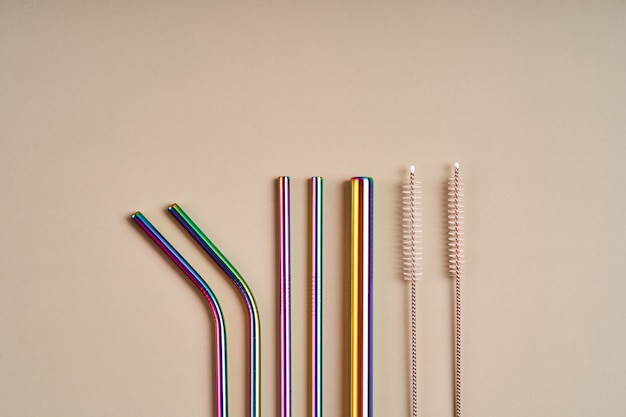 Reusable metal straws for drinks and cleaning tools
