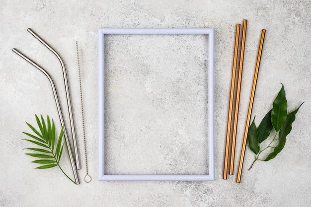 Reusable metal straws empty frame