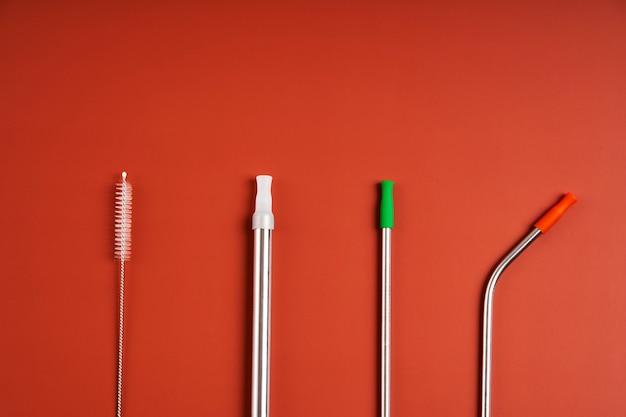 Многоразовые металлические соломинки для напитков и инструмент для чистки