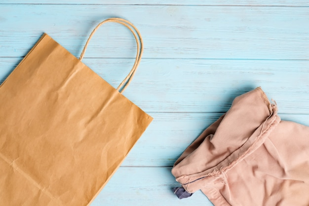 Reusable paper and textile eco bags for shopping fresh natural products