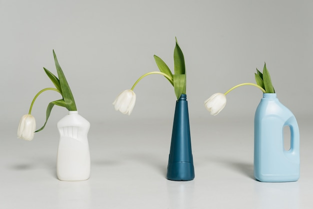 Reusable plastic bottle with flowers